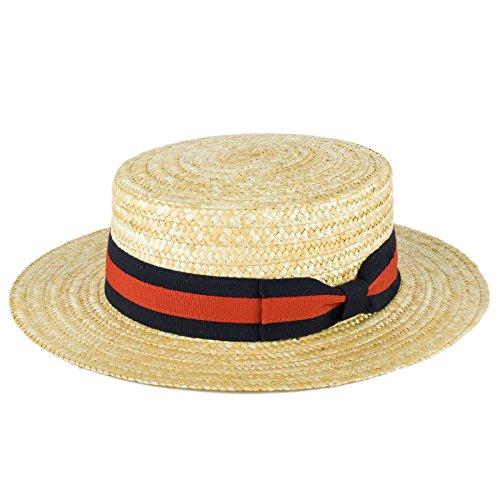 ZAKIRA Straw Boater Hat Handmade In Italy (Navy-Red Band, XXL)