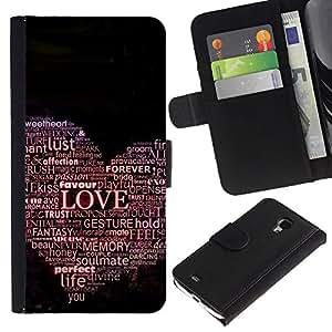 Protector de cuero de la PU de la cubierta del estilo de la carpeta del tirón BY RAYDREAMMM - Samsung Galaxy S4 Mini i9190 - TIPOGRAFÍA oiga el amor