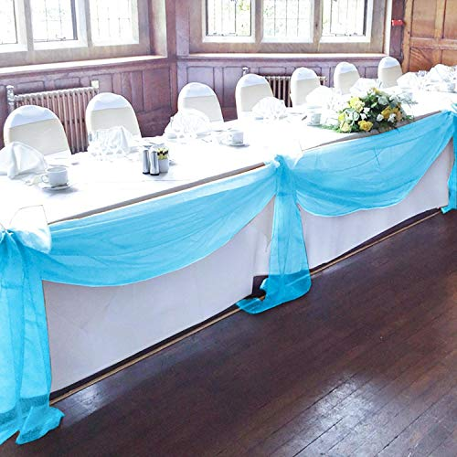 BIT.FLY Sheer Scarf Organza Table Swags Wedding Decor for Birthday Party & Home Table Runner 394 x 53 Inch, Table Skirt, Stair Bow, Valance, Backdrop Curtain Decoration (Turquoise, 1 -