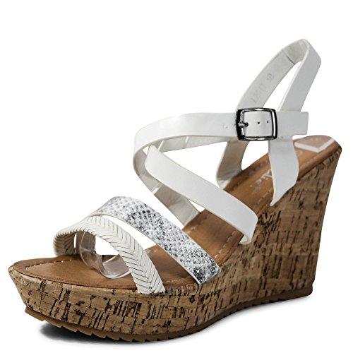 Schuhtraum Damen Sandalen Keilabsatz Sandaletten Wedge High Heels Plateau  ST011 Weiß 185a15d183