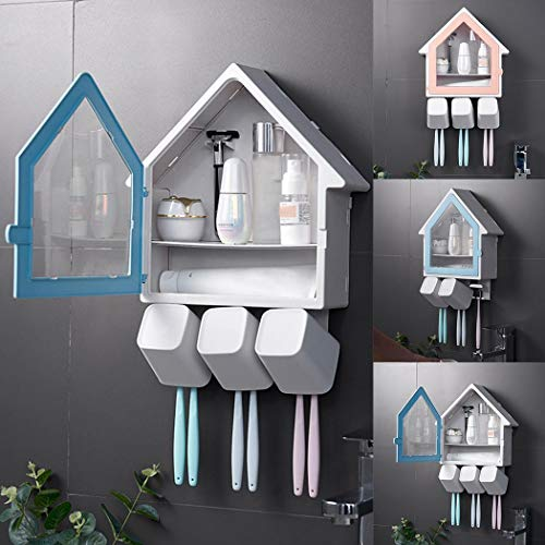 Tinffy Toothpaste Dispenser Toothbrush Holder Set,Home Bathroom Hotels Cleanser Gadgets Storage Rack Shelves 3-in-1 Wall Mounted Holders(Random Sent) from Tinffy