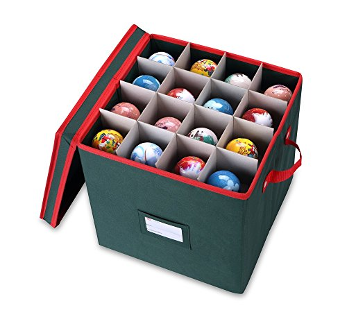 Large Ball Ornament (Primode Holiday Ornament Storage Box Chest, With 4 Trays Holds Up to 64 Ornaments Balls, With Dividers (Green))