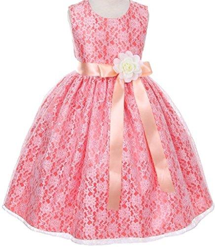 Ivory Custom 2 Ribbon - Little Baby Girls Coral Dress Lace Custom Ribbon Flowers Girls Dresses Peach Ivory S