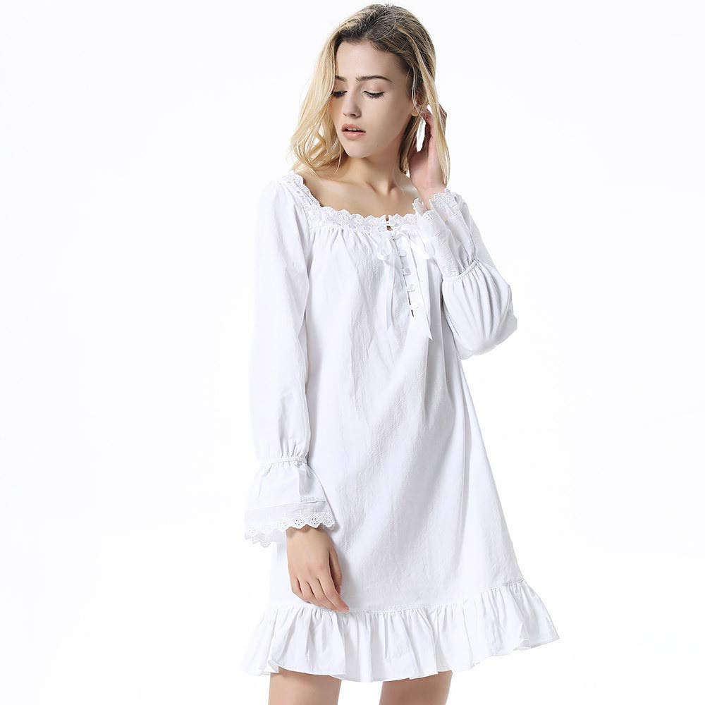 White Women's Ruffle Long Sleeves Pajamas Dress Solid color Soft Cotton Nightwear Ladies Winter (color   White, Size   S)