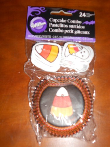 Wilton Cupcake Combo Halloween Candy Corn and Ghosts 2in Dia 24 Count -