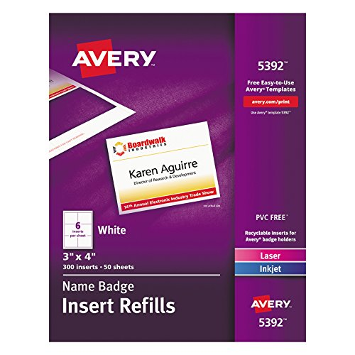 Avery Name Badge Inserts  Print Or Write  3  X 4   300 Cardstock Refills  5392