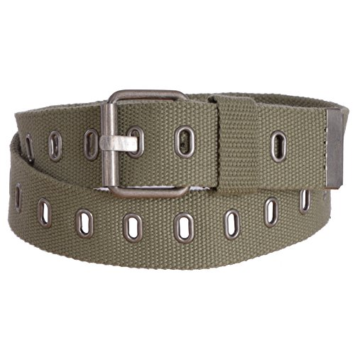 Sunny Belt Women's Adjustable Military Canvas Web Belt with Metal Buckle (Olive, Medium)