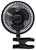 Comfort Zone 6 INCH - 2 Speed - Adjustable Tilt, Whisper Quiet Operation Clip-On-Fan with 5.5 Foot Cord and Steel Safety Grill, Black