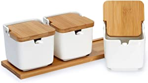 3-Pack Porcelain Sugar Bowl Flip Top Lid Condiment Jar-Ceramic Spice Container with Bamboo Lids and Spoons,for Kitchen Home