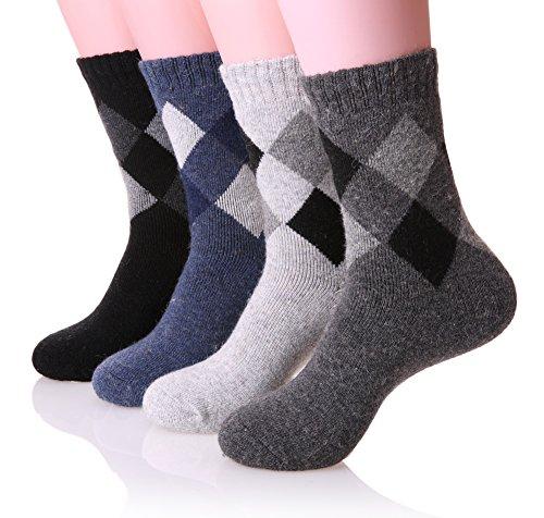 [EBMORE Men's Super Warm Wool Soft Winter Socks for Cold Weather - 4 Pack (Argyle)] (Mens Apparel Wool Socks)