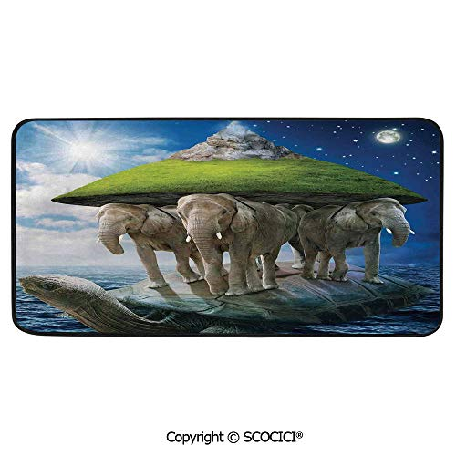 Rectangle Rugs for Bedside Fall Safety, Picnic, Art Project, Play Time, Crafts, Large Protective Mat, Thick Carpet,Fantasy Decor,Turtle Carrying Elephants with The Earth on Their Backs,39