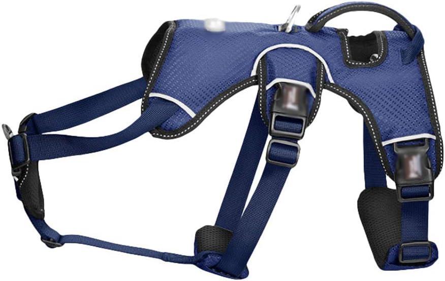 Yiqi Arnés de Perros Ajustable Chaleco Cómodo Transpirable Arnés Reflectante Control Fácil para Perro Mediano Grande (Azul Oscuro, Asia S)