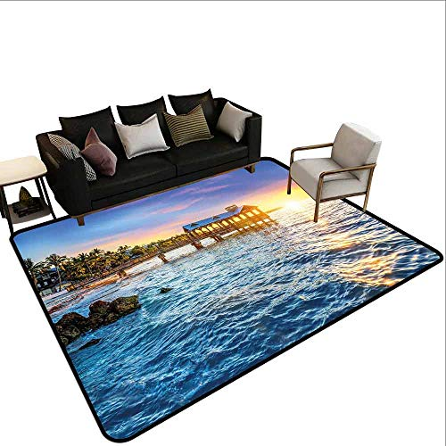 Thickened Large Size Carpet United States,Pier at Beach in Key West Florida USA Tropical Summer Paradise,Light Blue Yellow -