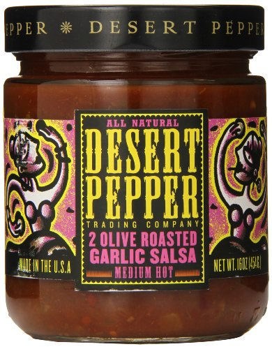 Salsa Desert Roasted Pepper (Desert Pepper Trading Company Two Olive Roasted Garlic Salsa, Medium Hot, 16 Ounce)
