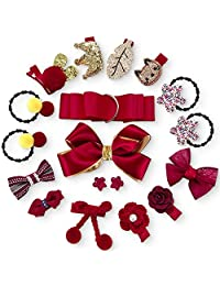 Baby Hair Accessories Kit Box - 18PCS Party Hair Clips Ties Bows Comfortable Hair Alligator Clips Barrettes Hair Ties Bands Ropes Grosgrain Ribbon Bow Set Various Designs for Little Girls Infants