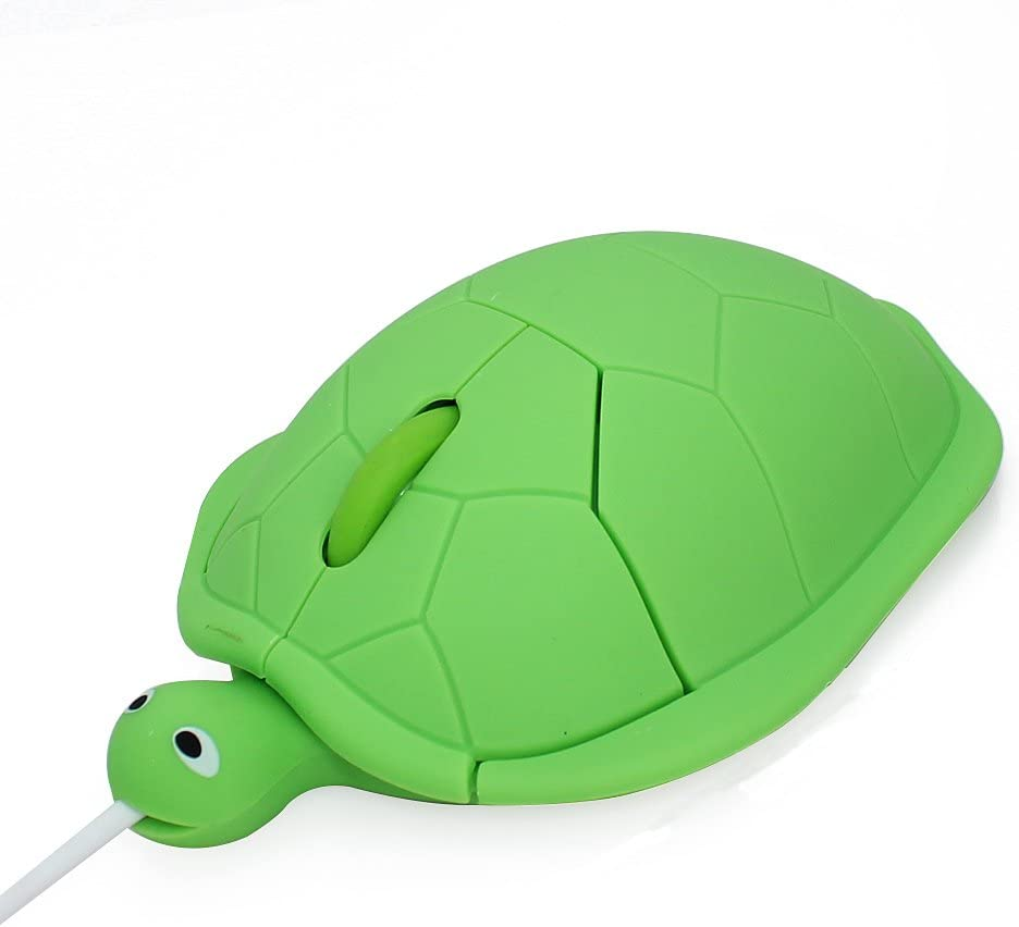 Cute Animal Turtle Shape USB Wired Corded Mouse Optical Mice for Notebook PC Laptop Computer 1200DPI 3 Buttons with 3.6 Feet Cord (Green)