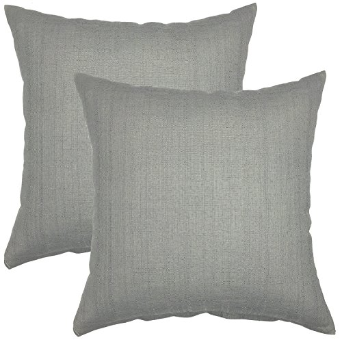 YOUR SMILE Pure Square Decorative Throw Pillows Case Cushion Covers Shell Cotton Linen Blend 18 X 18 Inches , Pack of 2 (Gray) (Gray Pillow Covers)