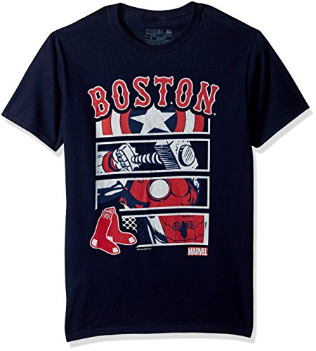 Marvel Men's Boston Red Sox Superhero Panel Graphic Tee, Navy, X-Large Sox T-shirts
