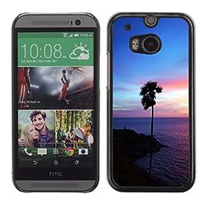 EJOY---Cubierta de la caja de protección la piel dura para el / HTC One M8 / --Purple Glow Palma