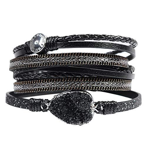 Leather Cuff Bracelet for Women - Boho Beads Wrap Clasp Bangle Bracelet Leather Wristbands Birthday Gifts for Women(Black with druzy) Design Fashion Cuff Bracelet