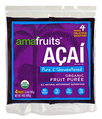 Amafruits Acai Berry Puree - Pure & Unsweetened - 24 Smoothie Packs - Berry Frozen Yogurt