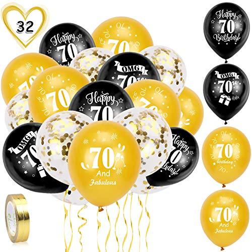 HOWAF Globos de cumpleanos, 30 Piezas 70 anos cumpleanos Globos de Latex, Negro y Oro Globos de Confeti y 2 Cintas para Hombres y Mujeres Fiestas de 70 cumpleanos decoracion Suministros
