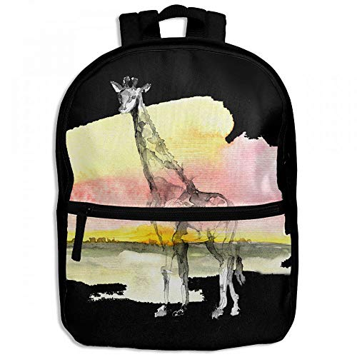 Africa Giraffe Watercolor Wilderness Childrens School Backpacks Casual Daypack Travel Outdoor For Boys And Girls by Thoreau Holmes