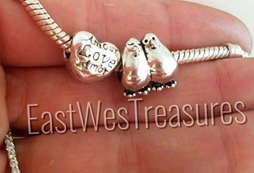 EWT 2pc Love Birds, couples, Mr Mrs, Amour Amore in love heart Charm bead for Pandora bracelets and any chain - Pandora Charm Lovebird