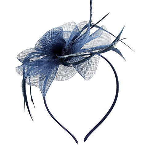 Fascinators for Women, Acecharming Elegant Flower Feather Headband Hat Fascinator Wedding Headwear Ladies Day Race Royal Ascot