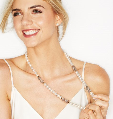 Elegant Pearlesque Long Necklace and Earring Gift Set
