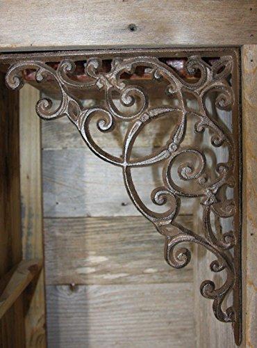 Elegant Farmhouse Entrance Way Corner Shelf Brackets Solid Cast Iron, 13'', Set of 2 by Cast Iron Home Decor Collectibles (Image #4)