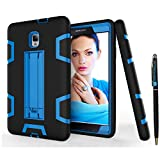 Tab A 8.0 2017 T380 Case DWaybox Shock-Absorption 3 in 1 Combo Hybrid Heavy Duty Armor Hard Back Case Cover for Samsung Galaxy Tab A 8.0 2017 SM-T380/T385/Tab A2 S 2017 (Black + Blue)