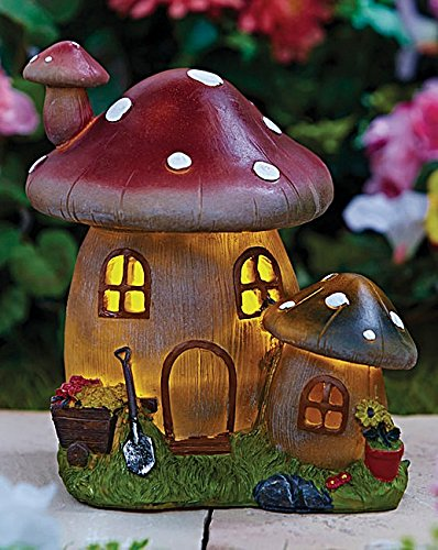 Fairy Garden House: Solar Power Mushroom Light Creates an