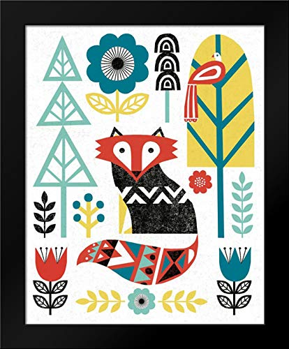 Folk Lodge Fox V2 Teal Framed Art Print by Mullan, - V2 Print Fox