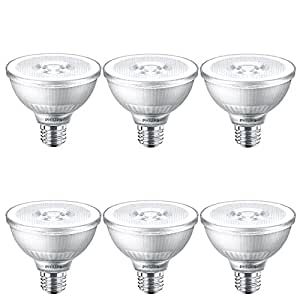 Philips LED Classic Glass Dimmable PAR30S 25-Degree Spot Light Bulb: 850-Lumen, 3000-Kelvin, 12-Watt (75-Watt Equivalent), E26 Base, Bright White, 6-Pack
