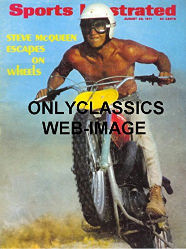 OnlyClassics Steve McQueen NO Shirt Husqvarna Motorcycle 8X10 Photo Sports Illustrated Cover