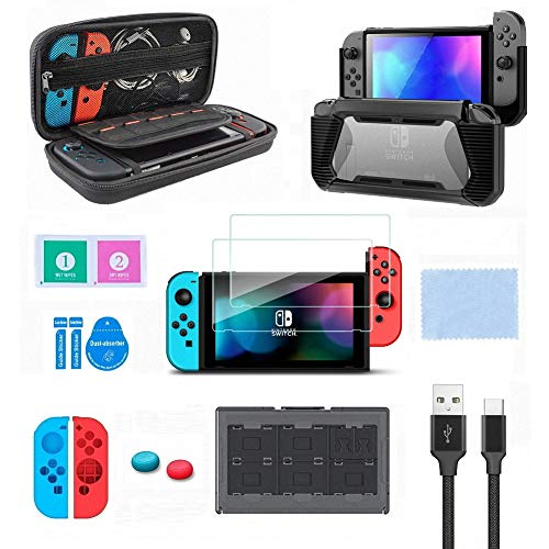 Switch Accessories Kit, VOKOO Nintendo Switch Case, Protective Case Cover, Tempered Screen Protector, Gaming Card Case and USB-C Charging Cable Compatible with Nintendo Switch, 10-in-1 (Best Travel Accessories 2019)