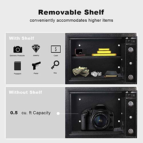 eclife Security Safe Box 0.5 Cubic Feet Electronic Digital Security Safe Box Black Keypad Lock Home Office Hotel Mini Cabinet Storage,Solid Steel Construction HM-F01 by eclife (Image #6)