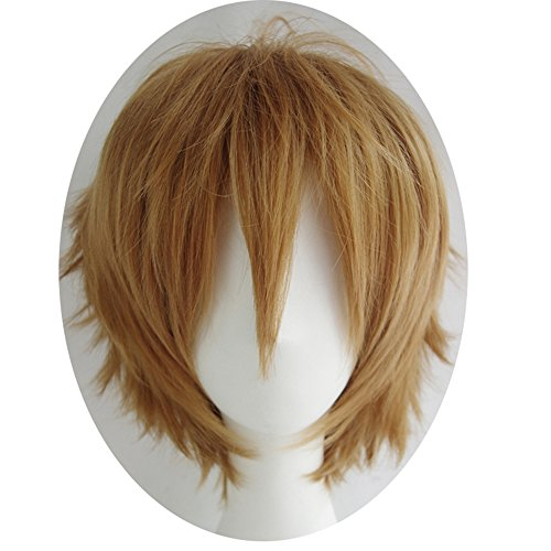 Alacos Women Men Cosplay Short Straight Hair Wig Anime Party Cool Costume Dress Wigs Light Brown Wig+ Free Wig Cap]()
