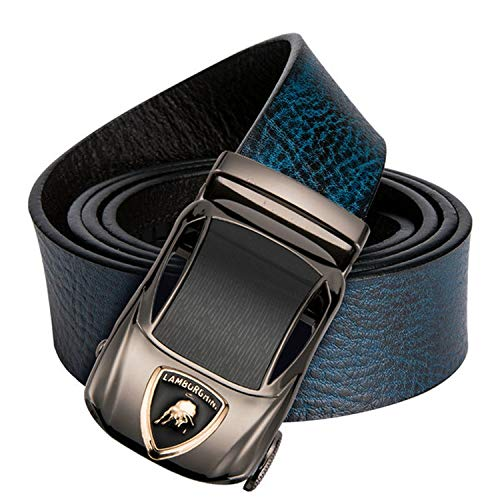 Genuine Leather Belt Alloy Automatic Buckle Luxury Belt Fashion Brown And Blue Waist Belt For Men,DK-0097-DG-E,120cm
