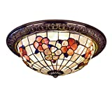 Tiffany Styled Ceiling Lamps Flush Mount - Purple & Yellow Floral Pattern Colored Shells Shade Ceiling Light for Home Decoration Lighting Fixtures - E27 - A
