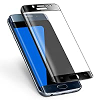 Galaxy S7 Edge Screen Protector,ALCLAP S7 Edge Tempered Glass Full Coverage 3D Curved High Definition Ultra Clear Film Anti-Bubble Screen Protector Cover for Samsung Galaxy S7 Edge -Black
