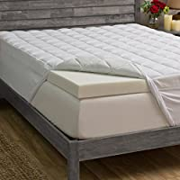 Grande Hotel Collection 3-inch Memory Foam and 1.5-inch Fiber Mattress Topper, FULL