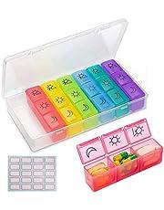 HONZUEN 7 Daagse Pillendoosje Tabletdoosje Pillenorganisator - 3 Keer per Dag, BPA-vrije Wekelijkse Pillendoosdoos met 21 Compartimenten Tablet Dispenserdoos Medicijndoos Organizer