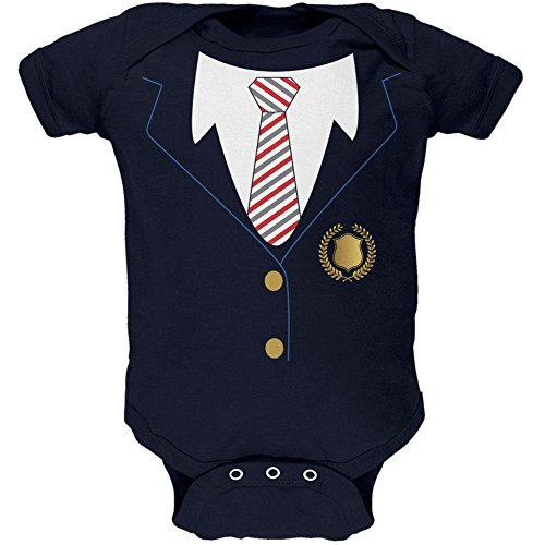 Halloween American School Girl Costume Soft Baby One Piece Navy 0-3 (Old Navy Infant Halloween Costumes)