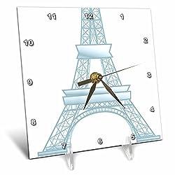 3dRose dc_50638_1 Eiffel Tower-Paris, France-Travel Art-Desk Clock, 6 by 6-Inch
