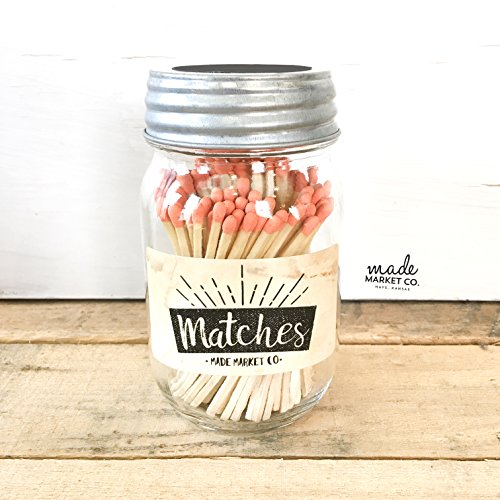 Coral Tip Colored Matches. Match Sticks Decorative Mason Jar. Farmhouse Home Decor. Unique Gifts for her. Best Seller Most Popular Item