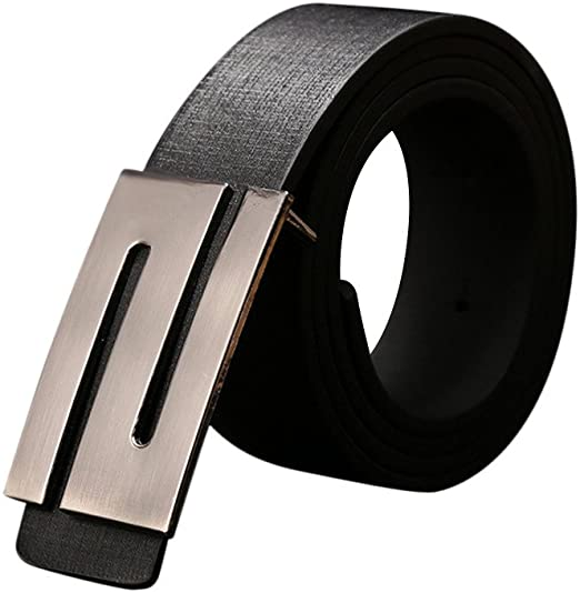 Mens Leather Belt Automatic Ratchet Auto Buckle Casual Waist Luxury Vintage Gift