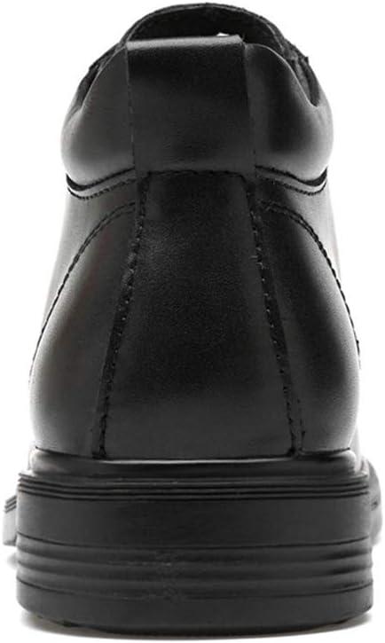 DZTIAN Bottes en Cuir Montantes pour Hommes à Lacets à Bout Rond Martin Bottes antidérapantes Mode Habillées Habillées Habillées Automne Black