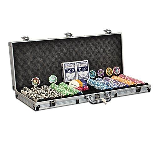 Pokerkoffer mit 500 ABGERUNDETEN Laser-Chips 11g - komplettes OCEAN CHAMPION CHIP Pokerset